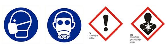 Symbolen  adembescherming en gevaarlijke stoffen