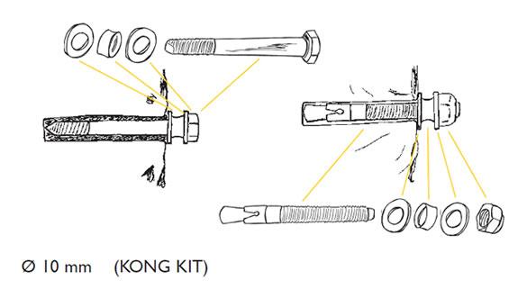 Ankerpunten gemaakt met de KONG-kit.